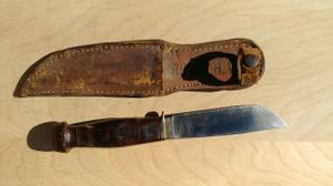 Antique Kabar Boy Scouts Knife with Leather Sheath (S. Nashville / Nipper's Corner / B-wood) for sale