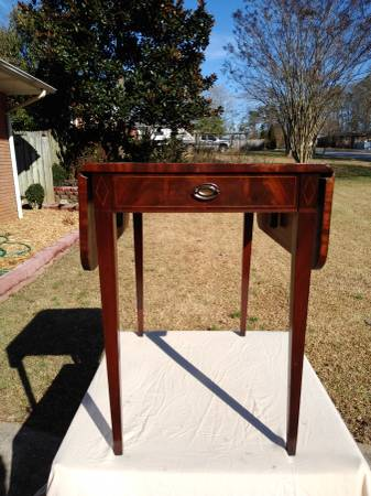 Leather top tall side table, flame mahogany, amazing inlay -...
