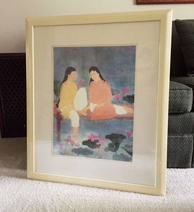 """Large Oriental Watercolor Print Framed 27.25""""x 33.5"""" (Clemmons) for sale"""