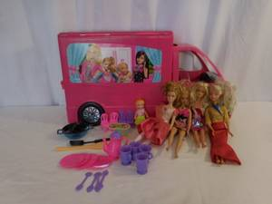 Used, Barbie Sisters Mobile Home Deluxe Camper RV Vehicle Playset + Accessor (lake elsinore) for sale