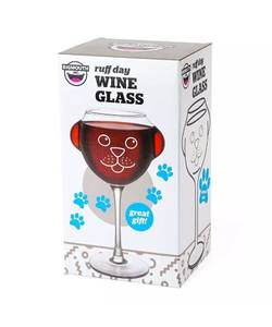 """""""Ruff Day"""" Wine Glass Dog Face w/ Ears 12oz (Akron) for sale"""