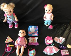 Used, Blonde Baby Alive Lot; Baby Wanna Walk, Party Baby, Bitsy Burpsey Doll for sale