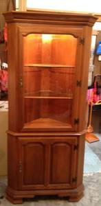 Used, Tell City Lighted Corner China Kitchen Dining Cabinet Oak Furniture for sale
