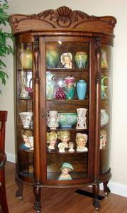 AntiqueTiger Oak Bow Front Griffin Columns Back Curio Claw Foot (Cleveland) for sale