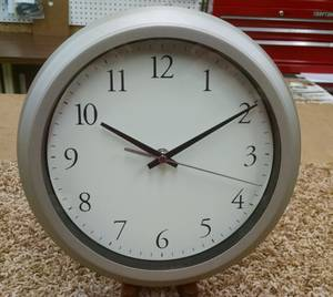 """10"""" Round Grey Metal Wall Clock (Maineville) for sale"""
