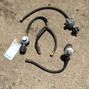 Propane tank gas regulator valves and lines,  several, different, used (Wood Dale) for sale