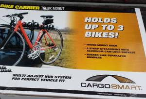 new CargoSmart TRUNK MOUNT Bike Carrier Cam-Lock Holds 3 Bicycles (Lakeside Marblehead) for sale