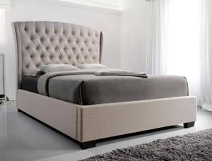 Used, Kaitlynn King padded bed frame, platform with tufted high headboard (Maple  Ridge) for sale  Vancouver