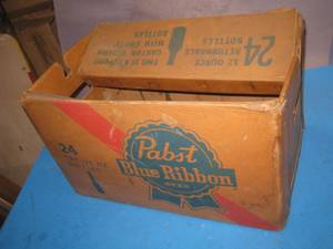RARE Pabst Blue Ribbon Beer Waxed Cardboard 24 Bottle Box (fountain valley) for sale