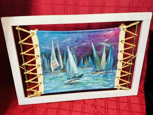 Hand painted/crafted sailboat nautical painting wall hanging decor