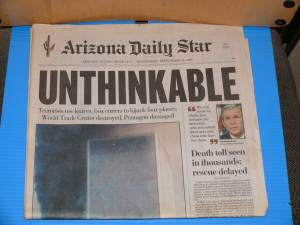 September 12 2001 Newspaper Arizona Daily Star (Grant and columbus), used for sale  Phoenix