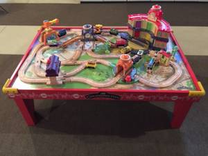 Chuggington Wooden Train Set with Table and extra pieces (Kalamazoo, MI (Texas Corners)) for sale  Detroit