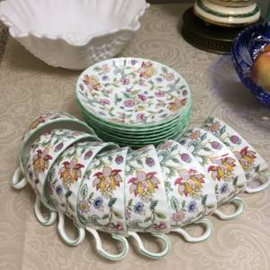 Set of 8, Minton England Haddon Hall Bon China green trim tea cup and (Bellevue) for sale  Seattle