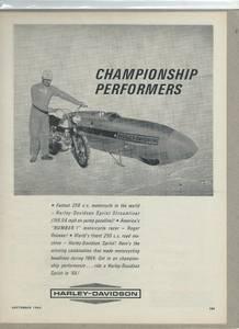 1965 Harley-Davidson Sprint Streamliner Motorcycle Original Racing Ad (NORTH BRANCH), used for sale