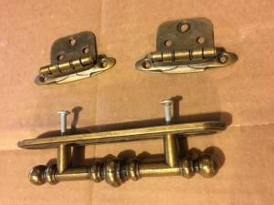 Used, cabinet hardware sets: handle and hinge,  ancient brass (edina) for sale