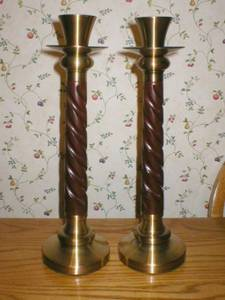Large Brass/ Wood Candlesticks (St. Paul Como) for sale
