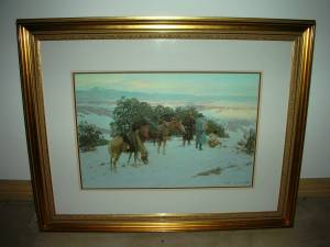 TOM LOVELL- FIVE MILES AHEAD OF THE COLUMN- SIGNED LITHOGRAPH FRAMED - (Indian Land) for sale