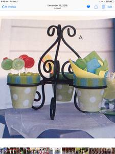 Gail Pittman Hand-Painted pots & Stand, used for sale