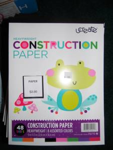 Used, Heavyweight Colorful Construction Paper--New with Tags-Half Price-- for sale