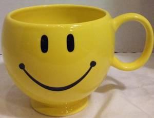 Used, **10 Smiley Face Ceramic Mug Soup Cup Planter Pot Happy Teleflora** (Parma) for sale