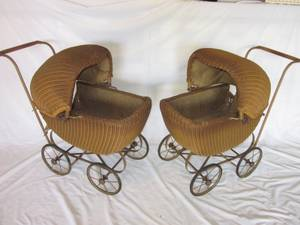 2 Matching Wicker Doll Baby Carriage Buggy Stroller Pram Canopy ANTIQU (Naperville) for sale