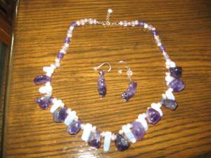 AMETHYST & BLUE LACE AGATE NECKLACE & EARRINGS (LINWOOD), used for sale
