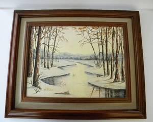 Marie Mussman Oil on Canvas Board Original Winter Lanscape (lafayette / orinda / moraga) $80