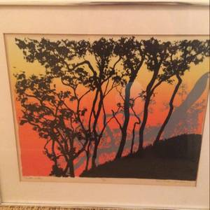 Framed Hawaiian Silkscreen Print 1970 (Whispering Pines) $375