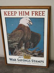 AMERICAN EAGLE POSTER: WWI SAVINGS STAMPS POSTER (san jose west) for sale