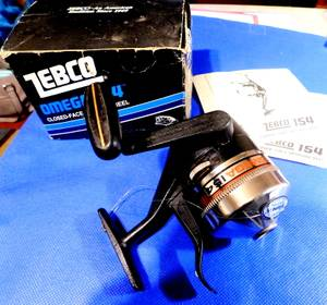 Used, zebco omega 154 underspin fishing reel w/ box & manual (pittston) for sale