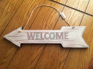 Used, NEW double sided WELCOME wood arrow sign for cabin for sale