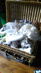 Wicker latch box full of arts crafts lace ribbons more $5 (Rome), used for sale