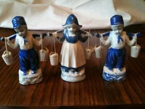 Vintage Ceramic Dutch Girl and Boys Figurines (Vestal, NY), used for sale