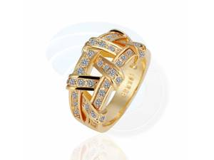 Size 8 Ashbury Metal 18K Yellow Gold Plated Rhinestone Crystal Ring (Richmond) for sale