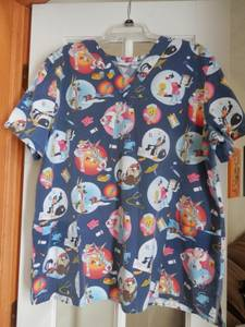 Ladies Large V Neck Medical Scrub Top Sylvester Cat Tweety Daffy Duck (Macedonia), used for sale