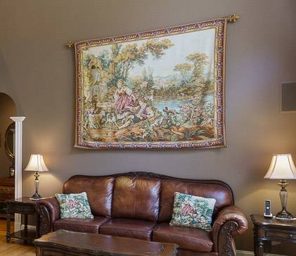 Stunning fountain by the lake italian wall tapestry-fine woven -...