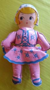 Vintage Oil Cloth Stuffed Dutch Girl Doll Baby Toy 1940s or 1950s Mint (Tacoma) for sale