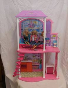 Barbie Beach 2 story Playhouse plus 3 dolls and furniture (lake elsinore) for sale