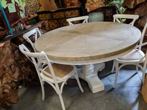 """NEW 60"""" Round Coastal Column Dining Table - Salvaged Wood Hand Crafted (Sarasota/DecorDirect.net) for sale"""