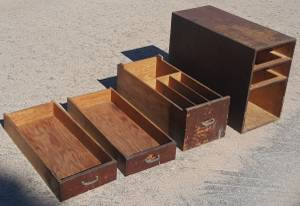 Antique wood tool cabinet for work bench with three drawers (NW Cy Fair) for sale  Austin