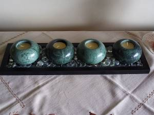 """4x NAT'L STONE VOTIVE CANDLE HOLDER DARK GREEN JADE  3.5""""x 2.5""""x1.5"""" (NewWestminster) for sale"""