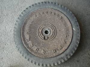 Used, Wheel for a Vintage Jacobsen Lawn Mower (Binghamton) for sale