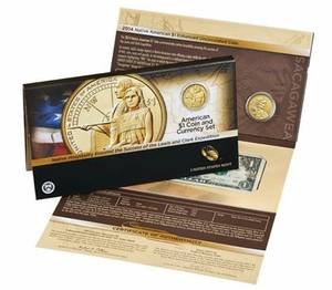 2014 $1 Coin and Currency Set W/ Enhanced Sacagawea Coin (N Olmsted) for sale