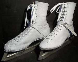 VINTAGE Woman's Ice Skates;Size 10 7/16;AnkleStraps/Buckles;DOOR DECOR (NORTH BRANCH) for sale