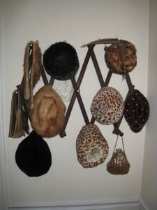Vintage Ladies Hats, Fur Collar, Muff, Gloves, Purse, Display Hanger!! (Berlin, MA), used for sale