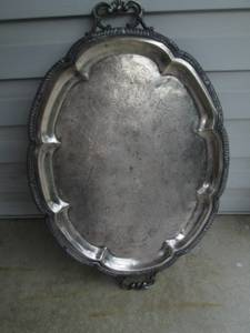 Large Antique F.B. Rogers Silver on Copper Serving Tray 6725 (Morrisville, Pa) for sale