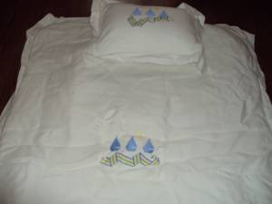 Boutique Baby Blanket, Coverlet, & Pillow w/ Nautical Theme BRAND NEW (Lemmon & Tollway), used for sale