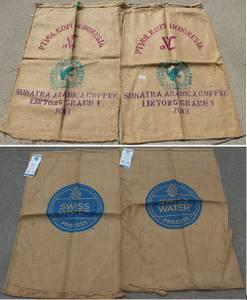 Lot of 4 Burlap Coffee Bean Bags Bag Sacks Sack (SOUTH FARGO) for sale