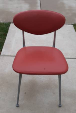 Orange mid century aluminum chair - furniture - by owner - sale